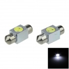 Festoon 31mm 1W 100lm 1-COB LED White Car Reading Light / Roof Lamp / Dome Bulb - (DC 12V / 2 PCS)