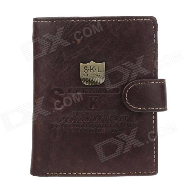 S.K.L DI365OS Fashion Men's Cowhide Purse Wallet w/ Buckle - Brown