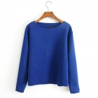 ZABABASTO SYZ-114 Long Sleeved Cotton Blend T Shirt Pullovers - Blue (M)