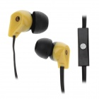 ELMCOEI V2 Fashionable In-Ear Earphones w/ Microphone - Black + Yellow (3.5mm Plug / 125cm-Cable)