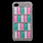 Stylish Protective Shiny Powder Diamond Plastic Back Case for IPHONE 4 / 4S - Silver + White