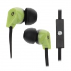 ELMCOEI V2 Fashionable In-Ear Earphones w/ Microphone - Black + Green (3.5mm Plug / 125cm-Cable)