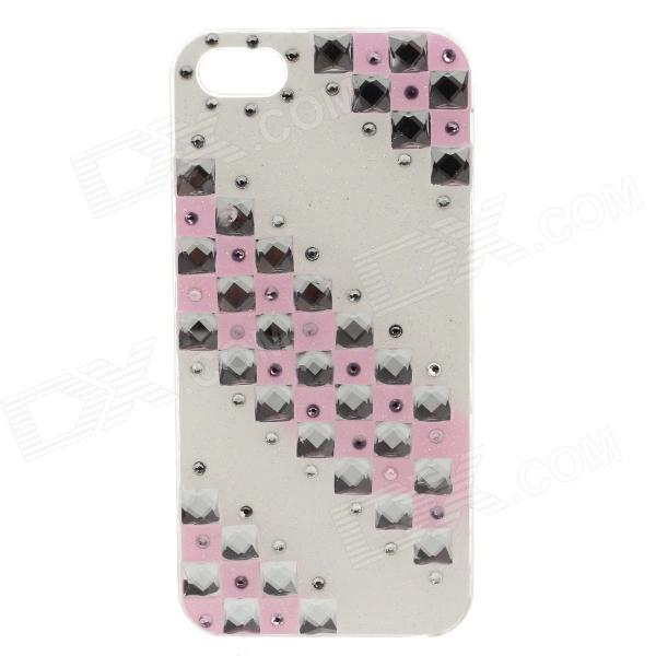 Stylish Protective Shiny Powder Diamond Plastic Back Case for IPHONE 5 / 5S - White + Pink
