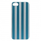 Stylish Stripe Pattern Protective Aluminum Alloy Back Case for IPHONE 5 / 5S - Blue + Silver