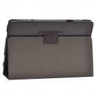 Stylish Lichee Pattern PU Leather Case Cover Stand w/ Pen Holder for ASUS T100TA - Dark Brown