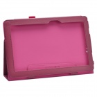 Stylish Lichee Pattern PU Leather Case Cover Stand w/ Pen Holder for ASUS T100TA - Deep Pink