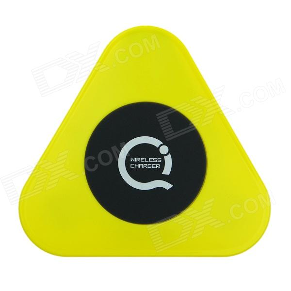 Super Mini Universal QI Standard Wireless Charger Charging Plate - Black + Yellow qi 4 mini qi standard wireless charger emitter wireless charging receiver set for samsung s4 i9500