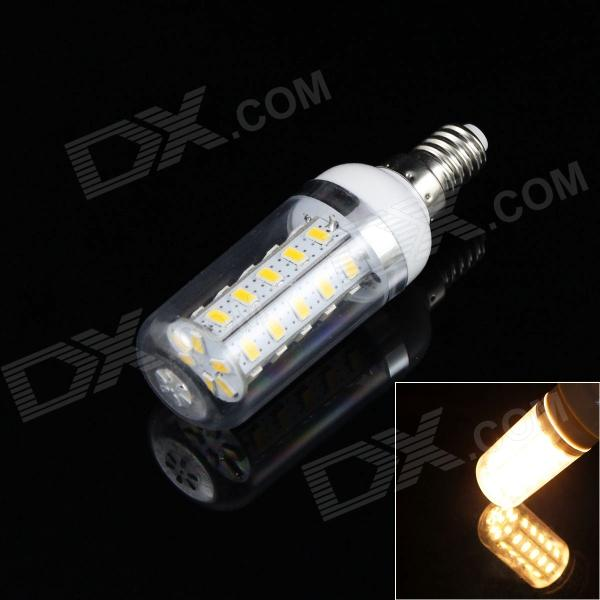E14 4W 320LM 3500K 48-SMD 5730 LED Warm White Light Corn Lamp Bulb w/ Cover (AC 85~265V)