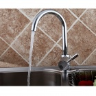 Kitchen Hot / Cold Copper Alloy Sink Hole Rotation Faucet - Silver