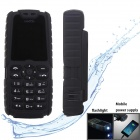 "XiaoCai X6 Waterproof GSM Bar Phone w/ 1.77"" Screen, Flashlight, Mobile Charger - Black"