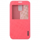 BASEUS Silk Hand Feeling PU Leather Case Cover w/ Visual Window for Samsung Galaxy S5 - Pink