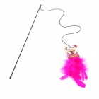 Flying Ratateenies Style Canvas + Cotton Fiber Toy Stick w/ Mint for Pet Cat - Pink + White