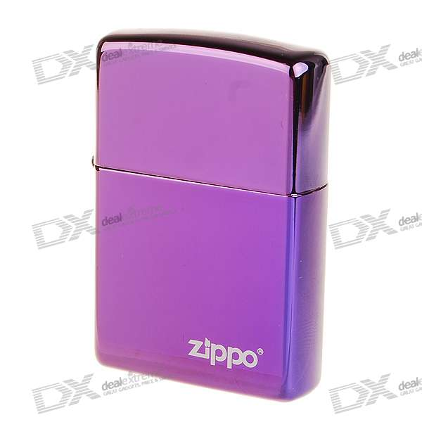 Genuine Zippo Copper Oil Lighter - Abyss Logo (Purple)