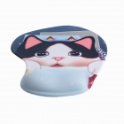 Cute Cat Pattern Cloth + EVA Mouse Pad w/ Wrist Support for Computer - Black + White