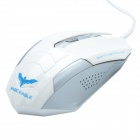 HAVIT HV-MS691 Commemorative Edition Magic Eagle USB Wired Optical Gaming Mouse - White +Silver Grey