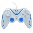KXD KXD-881S USB2.0 Wired Computer Game Handle Controller - White + Blue (145cm-Cable)