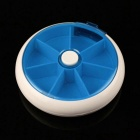 Rotatable Bounce Plastic 7-Day Pill Box Case - White + Blue