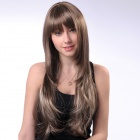 WM61 Capless Long Synthetic Mixed Straight Hair Wig - Grayish White