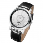 EYKI 8723 Fashion PU Leather Band Round Dial Wrist Watch for Men - White + Black + Multi-Colored