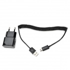 EU Plug USB Output Power Adapter + Micro USB Male to USB Male Charging & Data Sync Cable for Samsung