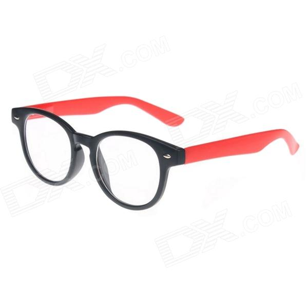 Fashion Round Hollow Frame Glasses - Black + Red