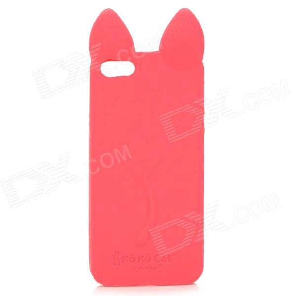 Cute Cat Ears Style Beskyttende Silikon Back Case for IPHONE 5 / 5S - Rød