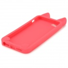 Cute Cat Ears Style Protective Silicone Back Case para IPHONE 5 / 5S - Vermelho