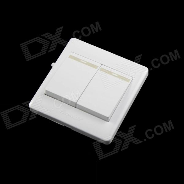 86Style Noctilucent 220V 10A Two Gang Power Control Wall Switch - White [vk] travel switch limit switches wlca12 2n silver contact thickness aluminum high temperature resistant