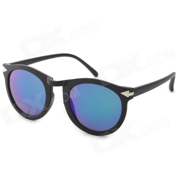 Stylish Retro Blue REVO Lens Round Frame UV400 Sunglasses - Black oreka children s cool cellulose acetate frame blue revo lens uv400 sunglasses brown blue