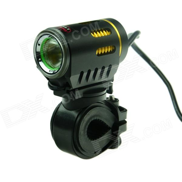 ZHISHUNJIA 360 Degree Rotation LED 1100lm 6-Mode White Bicycle Headlight - Black + Gold