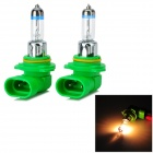 9006 55W 800lm 3000K Warm White Car Halogen Lights - Green + Silver (12V / 2 PCS)