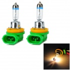 H11 55W 800lm 3000K Warm White Car Halogen Lights - Green + Silver (12V / 2 PCS)