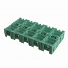 10-in-1 SMT Electronic Component Storage Box - Green + Transparent (30 x 23 x 20mm)