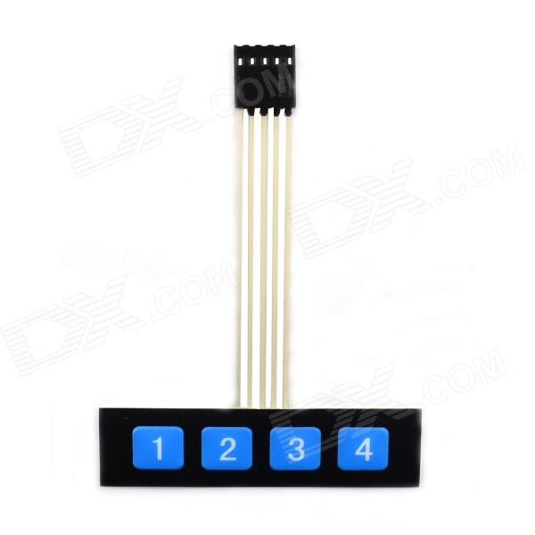MaiTech 1 x 4 Digital Matrix Membrane Switch / Positive Connection Matrix Keyboard - Black + Blue