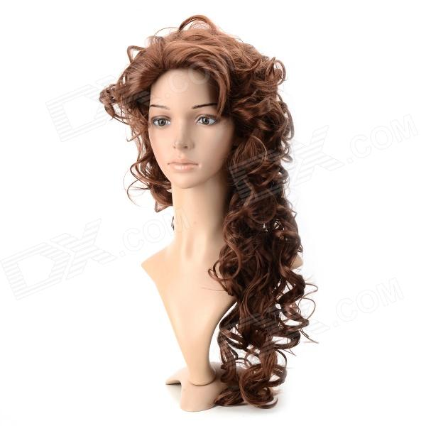 wm97 Synthetic Fashion Long Curly Wing - Light Brown + Deep Brown sysh001 fashion tilted frisette long curly wig light brown