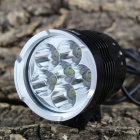 KINFIRE KF-60 6 x Cree XM-L L2 5000lm 4-Mode White Bicycle Light Headlight - Black (6 x 18650)