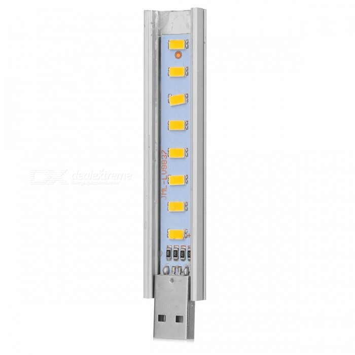 1.5W 50lm 8-LED Warm White Light USB Lamp - Silver + Yellow