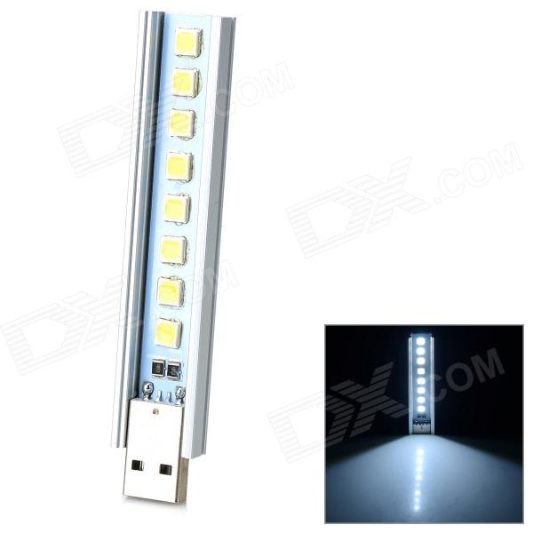 w-08 1.5W 50lm 8-LED White Light U Disk Style USB Lamp - Silver + Beige