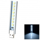 1.5W 50lm 8-LED White Light USB Lamp - Silver + Beige