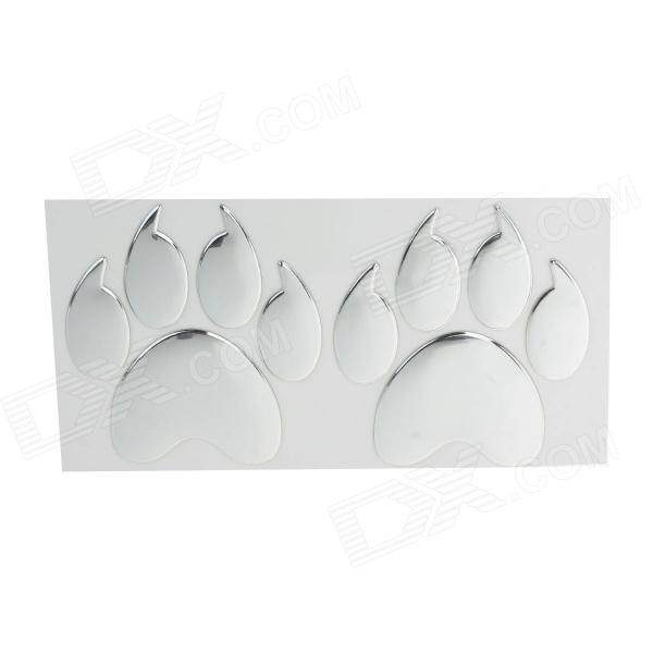 Creative Two Paw Pattern Plastic Car Decoration Sticker - Silver