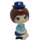 Cute Head Shaking Girl Style Toy for Car Decoration - Brown + Blue + Multicolored