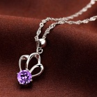 eQute PSIW22C6 Women's Elegant S925 Sterling Silver Crown Pendant Necklace - Silver + Purple