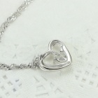 EQute PSIW39C1 S925 Sterling Silver Heart Shaped Zircon Pendant Necklace - White + Silver