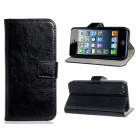 Protective Artificial Leather Case w/ Card Slot for IPHONE 5 / 5S - Black