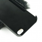 Fashionable Plastic + Rabbit Hair + Rhinestone Crown Style Back Case for IPHONE 4 / 4S - Black +Grey