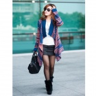 Irregular Cloak Long Sleeved Loose Cardigan Knit - Blue + Orange