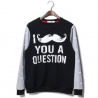 T333 Men's Big Mustache Letters Pattern Pullover Sweater  - Black + White (L)