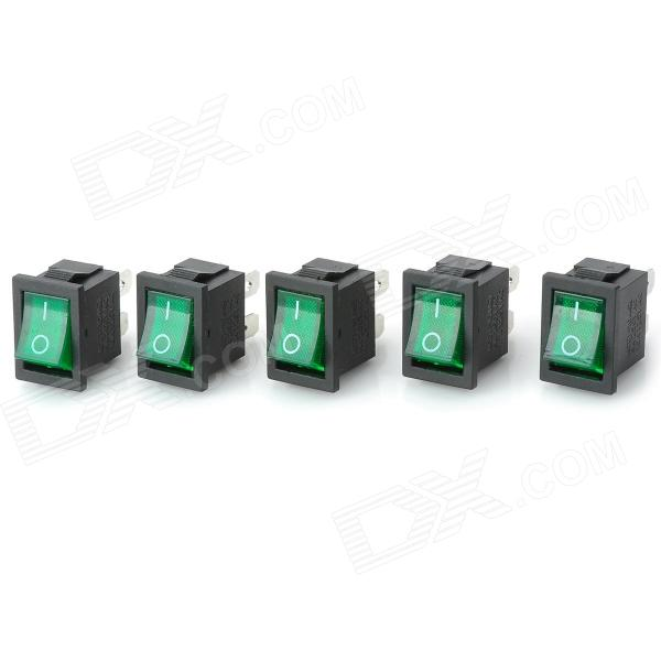 14020901 DIY Green Light Rocker Switch - Black + Green (5 PCS)