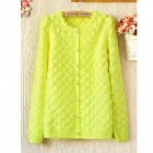 Wave Round Neck Long Sleeve Knit-Bright Shirt- Green (Free Size)