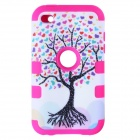 Love Heart Tree Style Protective Silicone Case for IPOD Touch 4 - Dark Pink + White